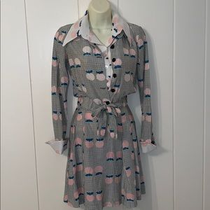 Vtg 70s 2 piece polyester knit outfit